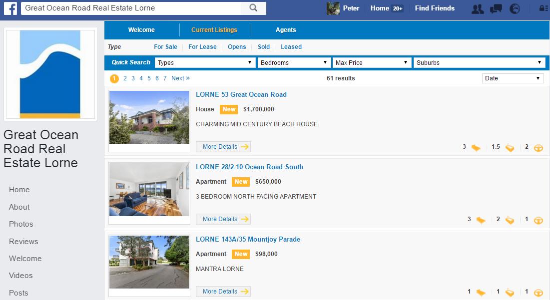 Facebook real estate agents  Australia